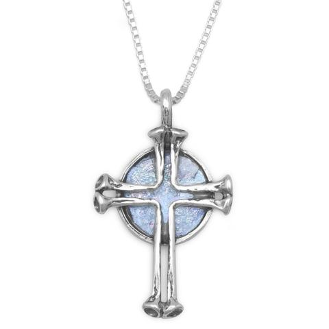 Roman Glass Cross Necklace .925